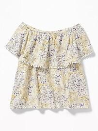Haut en tricot grège à fleurs à épaules dénudées pour fille