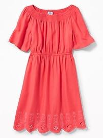 Cinched-Waist Cutwork-Hem Dress for Girls