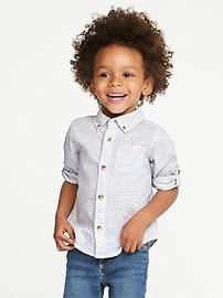 Chemise rayée en mélange de lin à manches roulées pour tout-petit garçon