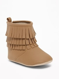 Sueded Fringe Booties for Baby