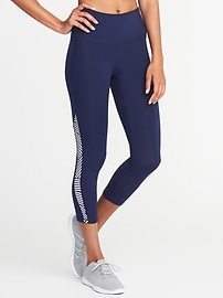 High-Rise Side-Stripe Compression Crops for Women
