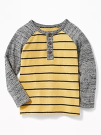 Henley en tricot rayé à couleurs contrastantes pour tout-petit garçon