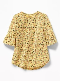 Floral French Terry Bell-Sleeve Tunic for Toddler Girls