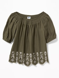 Relaxed Off-the-Shoulder Cutwork Top for Girls