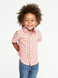 Built-In Flex Poplin Gingham Shirt for Toddler Boys