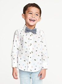 Printed Built-In Flex Shirt & Bow-Tie Set for Toddler Boys