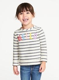 Chandail sport en jersey bouclette à rayures inversées «Hello» pour toute-petite fille