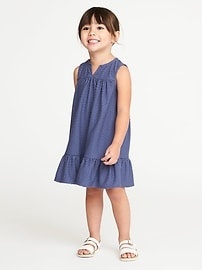 Dobby Clip-Dot Ruffle-Hem Dress for Toddler Girls