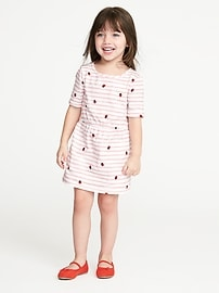 Striped Slub-Knit Shift Dress for Toddler Girls