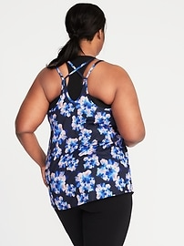 Plus-Size Printed Strappy Performance Tank