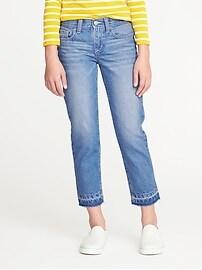 Frayed-Hem Boyfriend Straight Jeans for Girls