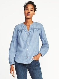 Ruffle-Yoke Chambray Top for Women
