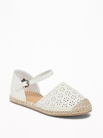 Perforated Faux-Leather Espadrilles for Girls
