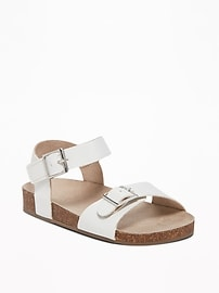 Faux-Leather Buckled-Strap Sandals for Toddler Girls