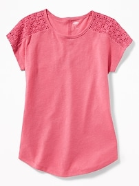 Linen-Blend Lace-Shoulder Tunic for Girls