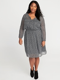 Star-Print Plus-Size Chiffon Dress