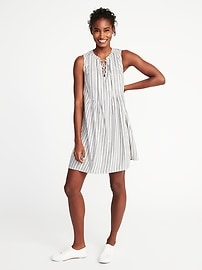 Metallic-Stripe Pintuck Swing Dress for Women