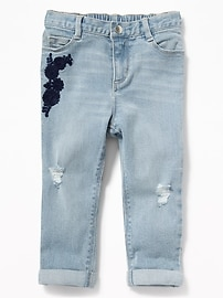 Embroidered Distressed Boyfriend Jeans for Toddler Girls