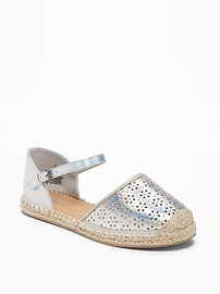 Perforated Metallic Espadrilles for Girls