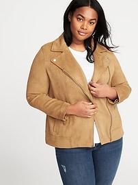 Plus-Size Sueded-Knit Moto Jacket