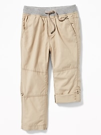 Rib-Waist Poplin Roll-Up Pants for Toddler Boys