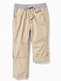 Pantalon roulé en popeline à taille côtelée pour tout-petit garçon