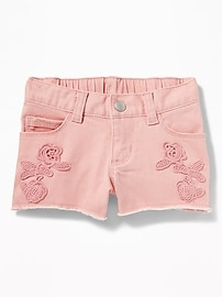 Floral-Embroidered Denim Shorts for Toddler Girls