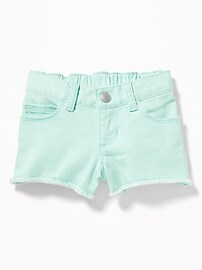 Raw-Edge Denim Shorts for Toddler Girls