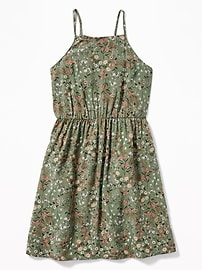 Printed High-Neck Cami Dress for Girls