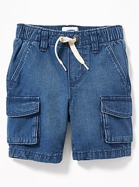 Denim Pull-On Cargo Shorts for Toddler Boys