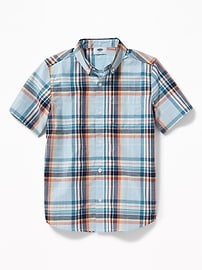 Classic Built-In Flex Plaid Shirt for Boys