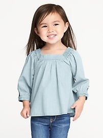 Chambray Square-Neck Top for Toddler Girls