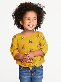 Printed Tie-Front Top for Toddler Girls