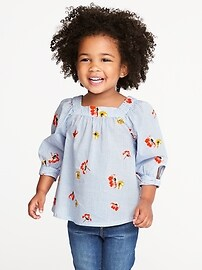 Printed Square-Neck Top for Toddler Girls