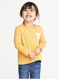 Eyelet-Pocket French Terry Sweatshirt for Toddler Girls