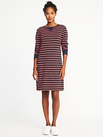 Striped French-Terry Shift Dress for Women