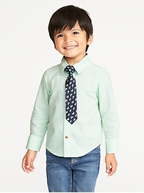 Oxford Dress Shirt & Tie Set for Toddler Boys