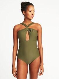 Twist-Strap Cutout Swimsuit for Women