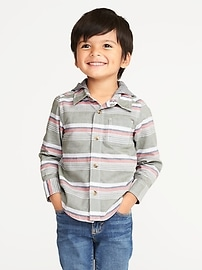 Striped Hooded Oxford Shirt for Toddler Boys