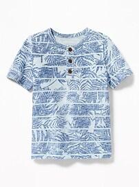 Henley en tricot grège à imprimé tropical pour tout-petit garçon