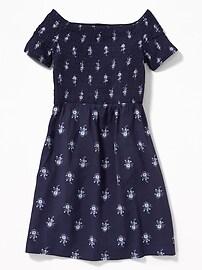 Smocked Floral-Print Fit & Flare Dress for Girls