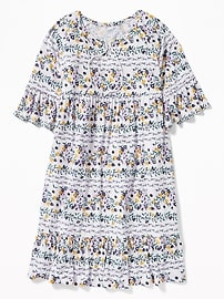 Tiered Bell-Sleeve Swing Dress for Girls