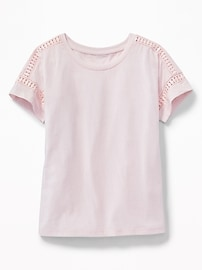 Crochet-Lace Trim Tee for Girls