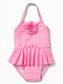 Rosette Peplum Halter Swimsuit for Toddler Girls
