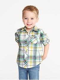Built-In Flex Roll-Sleeve Shirt for Toddler Boys