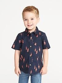 Sea-Creature Print Built-In Flex Shirt for Toddler Boys