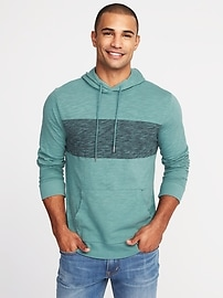 Slub-Knit Color-Block Pullover Hoodie for Men