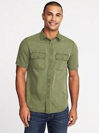 Chemise militaire teinte en pièce, coupe standard pour homme