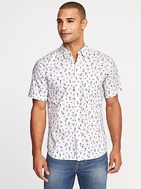 Slim-Fit Printed Built-In Flex Classic Shirt for Men
