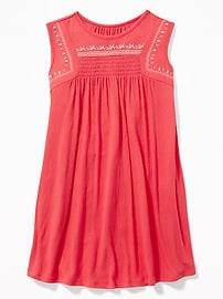 Sleeveless Puff-Print Swing Dress for Girls
